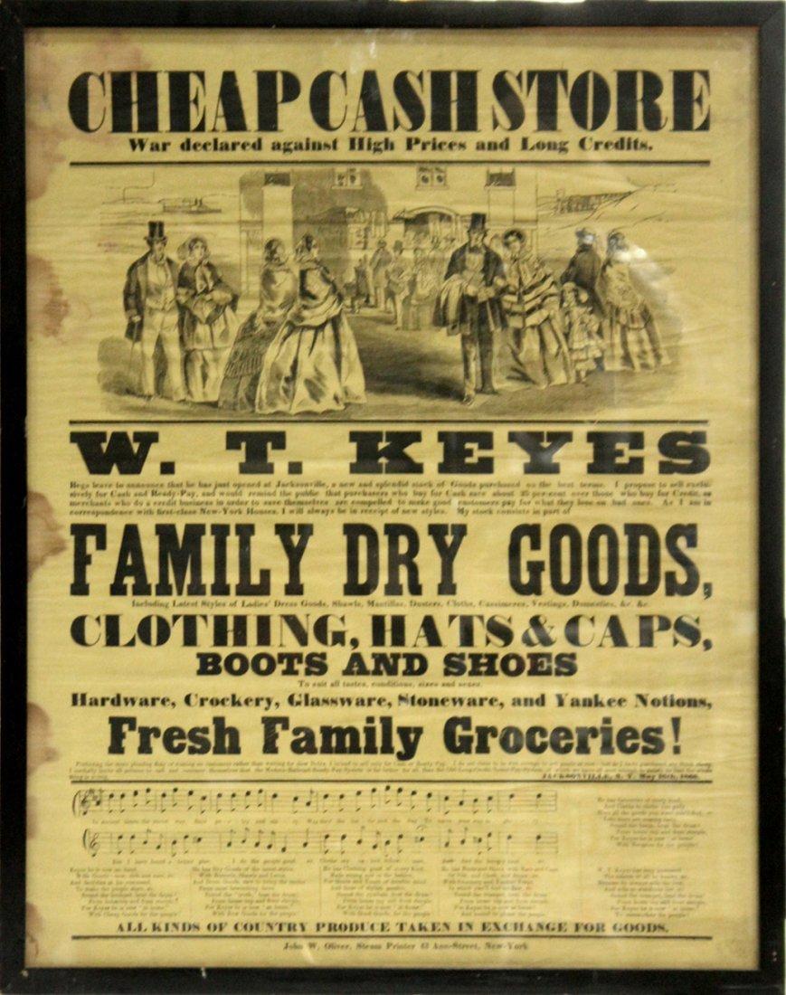 1860 Cheap Cash Store antique W T KEYES