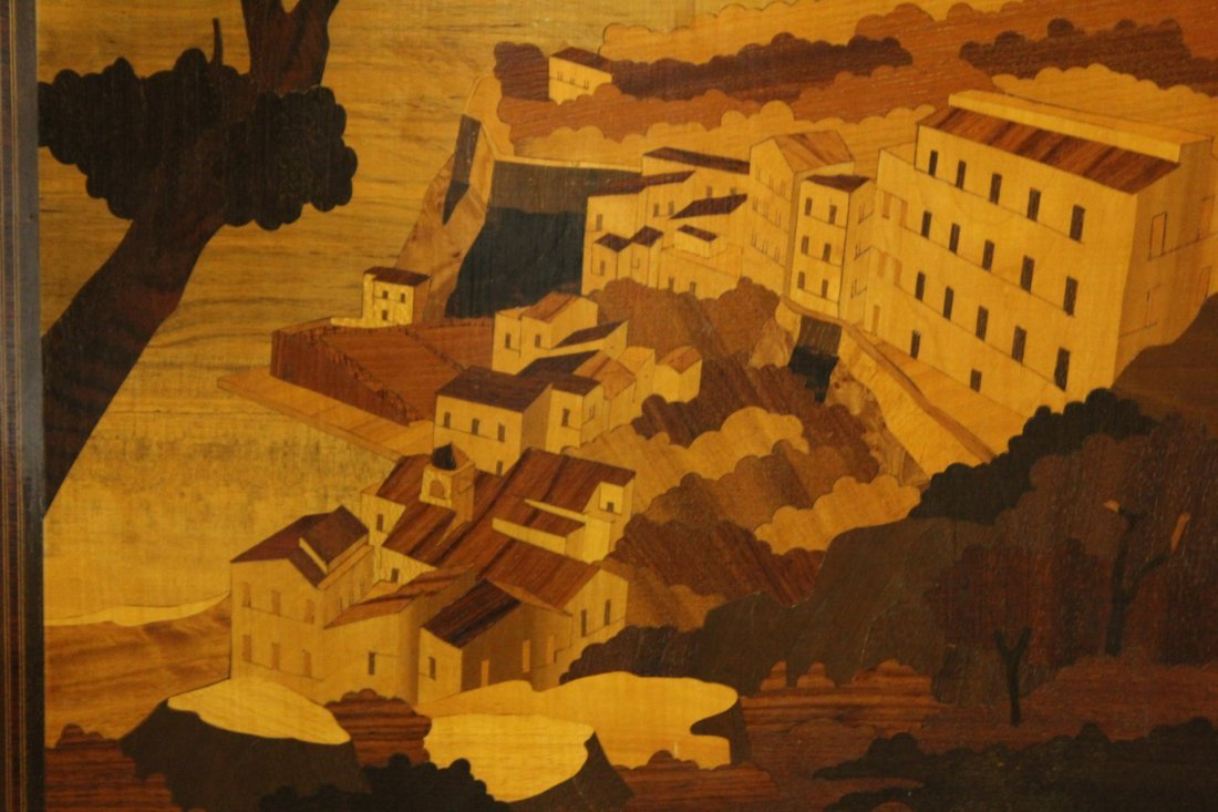 Inlaid Exotic wood panel with Italian landscape - 3