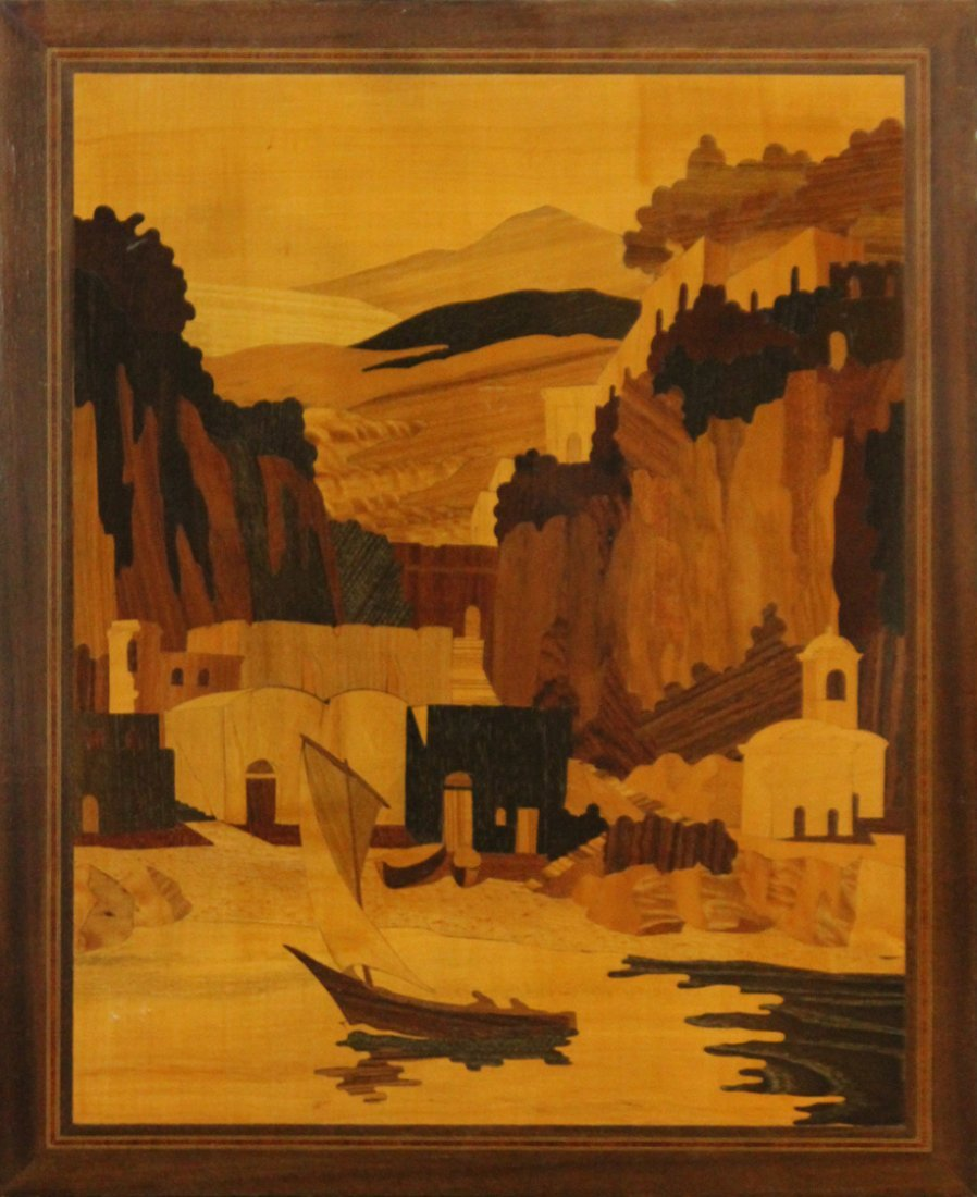 Inlaid Exotic wood panel with Italian landscape