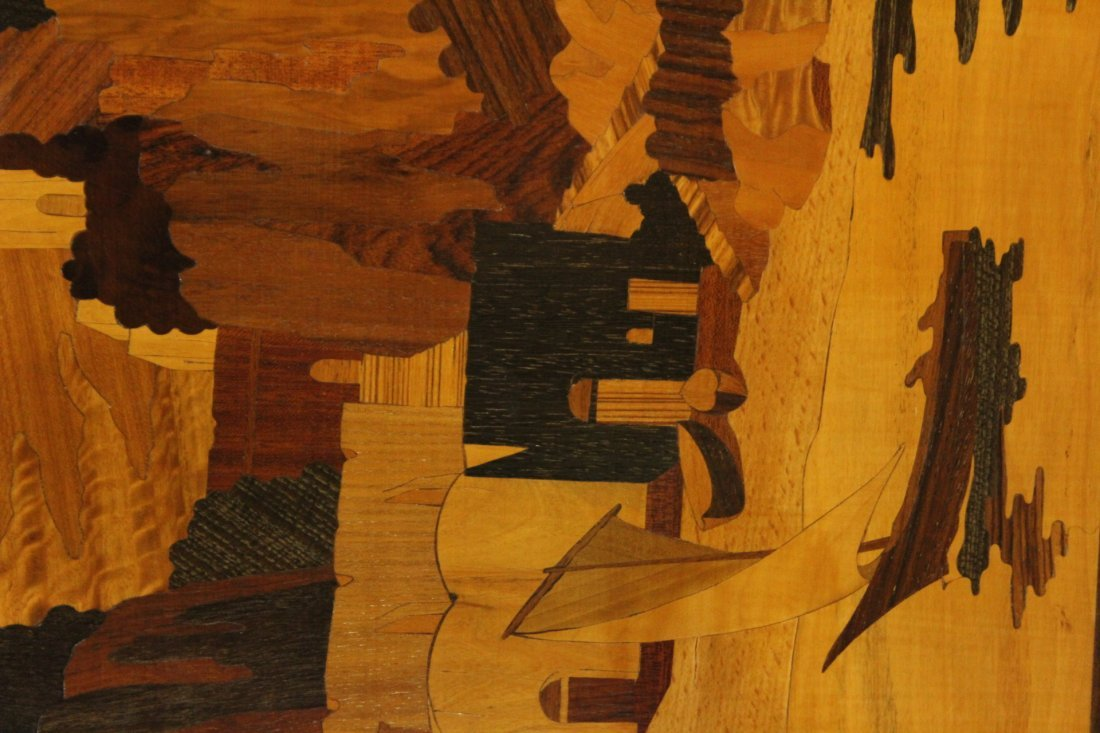 Inlaid Exotic wood panel with Italian landscape - 2