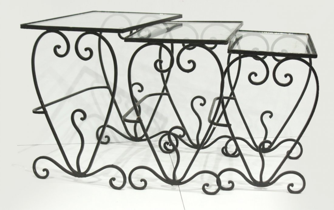 Wrought iron graduated nesting tables