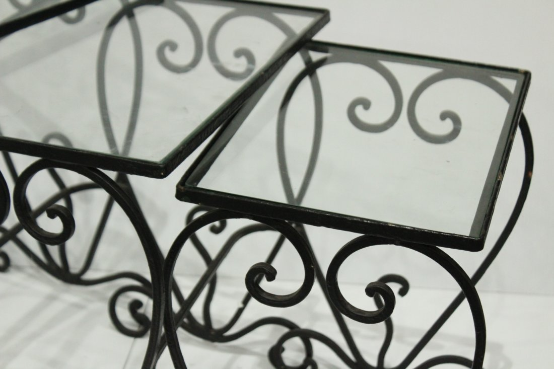 Wrought iron graduated nesting tables - 4