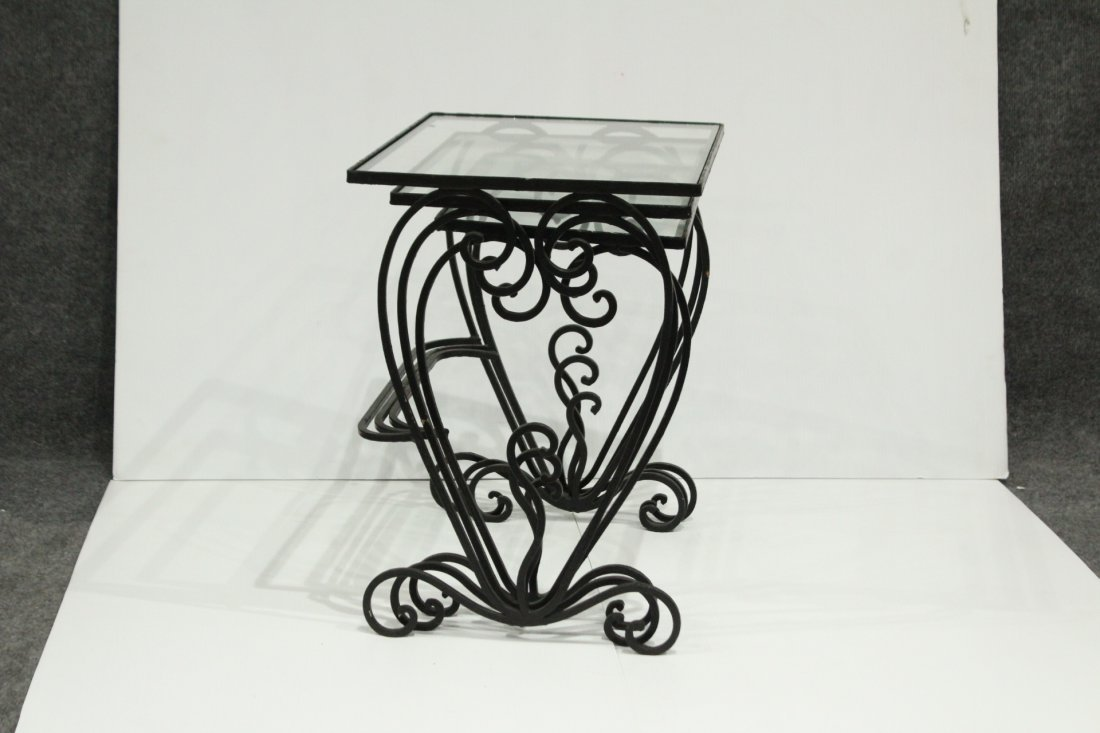 Wrought iron graduated nesting tables - 7