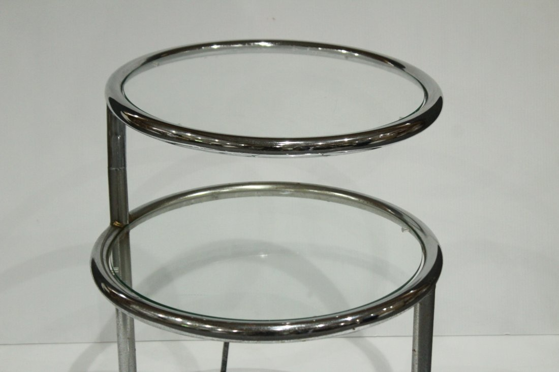 Mid-century Modern tubular chrome side table - 2