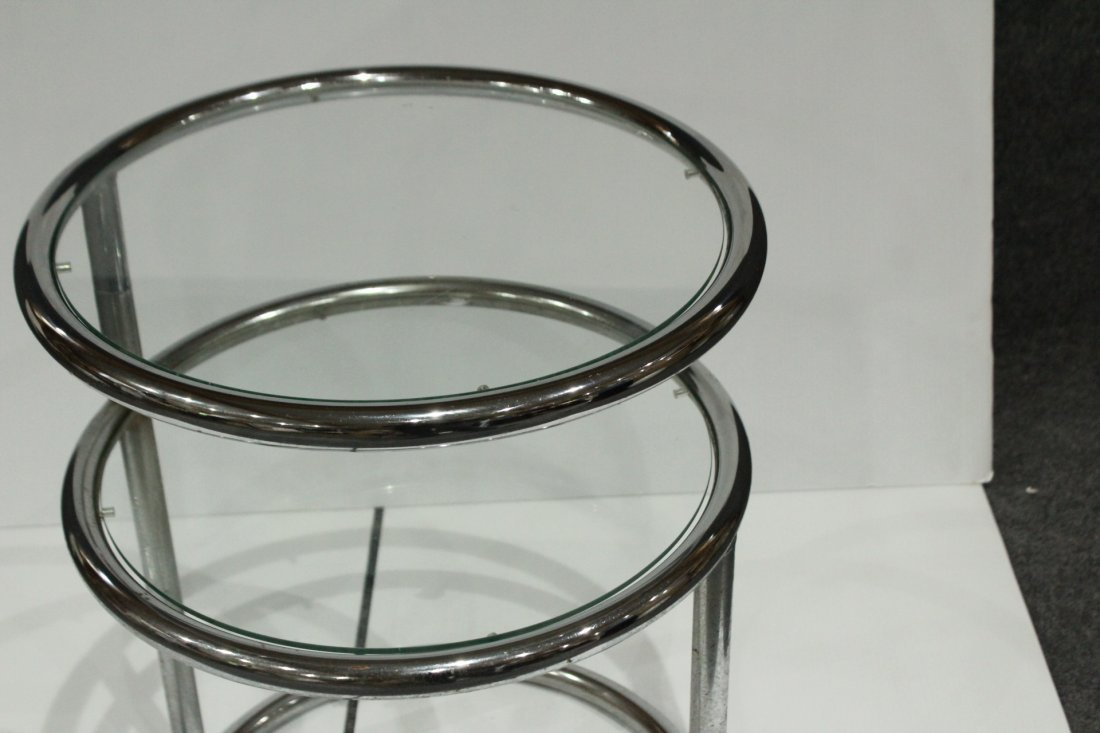 Mid-century Modern tubular chrome side table - 4