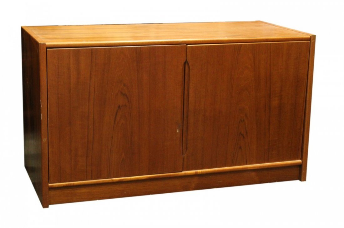 Mid-Century Danish Modern 2-Door Cabinet Marked Denmark