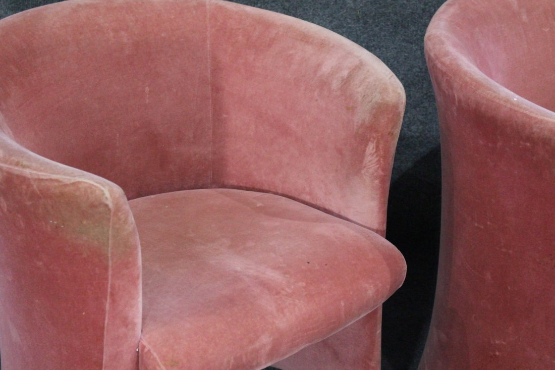 Set Eight [8] PINK VELOUR UPHOLSTERED TUB CHAIRS - 2