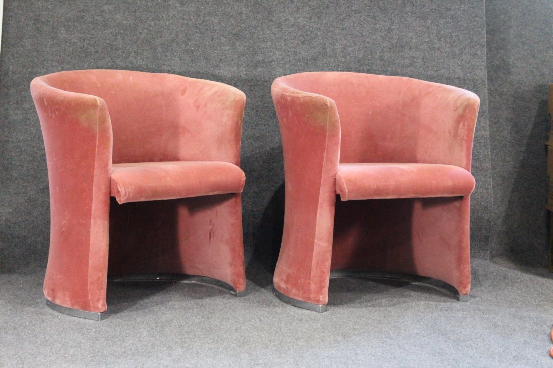 Set Eight [8] PINK VELOUR UPHOLSTERED TUB CHAIRS - 4