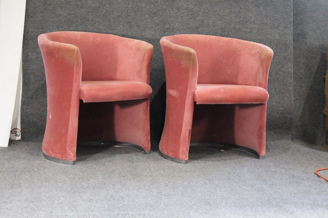 Set Eight [8] PINK VELOUR UPHOLSTERED TUB CHAIRS - 5