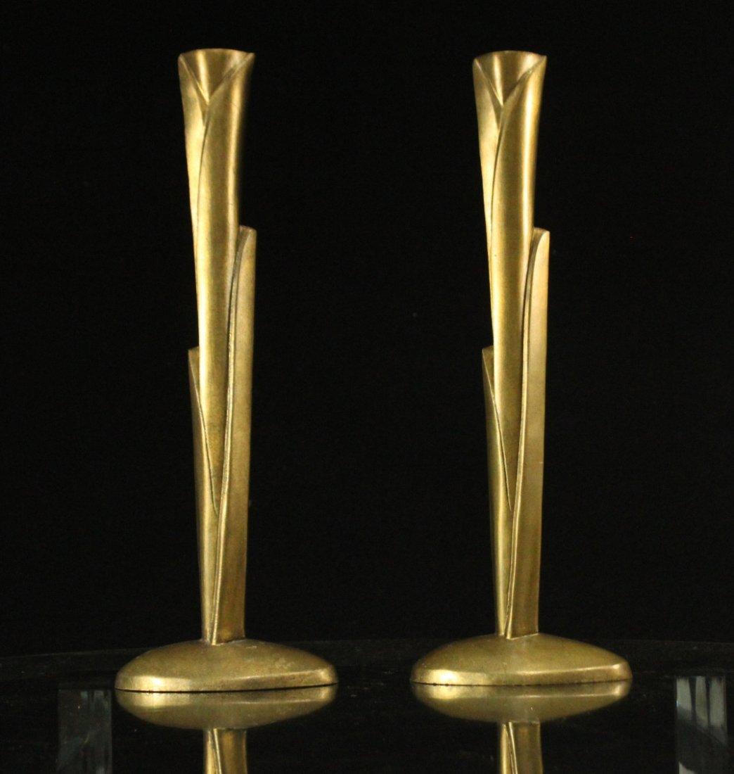 WILLIAM HARVEY Signed Bronze Modern Design Candlesticks