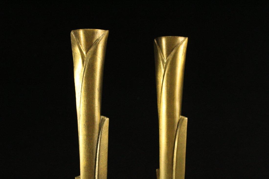 WILLIAM HARVEY Signed Bronze Modern Design Candlesticks - 3