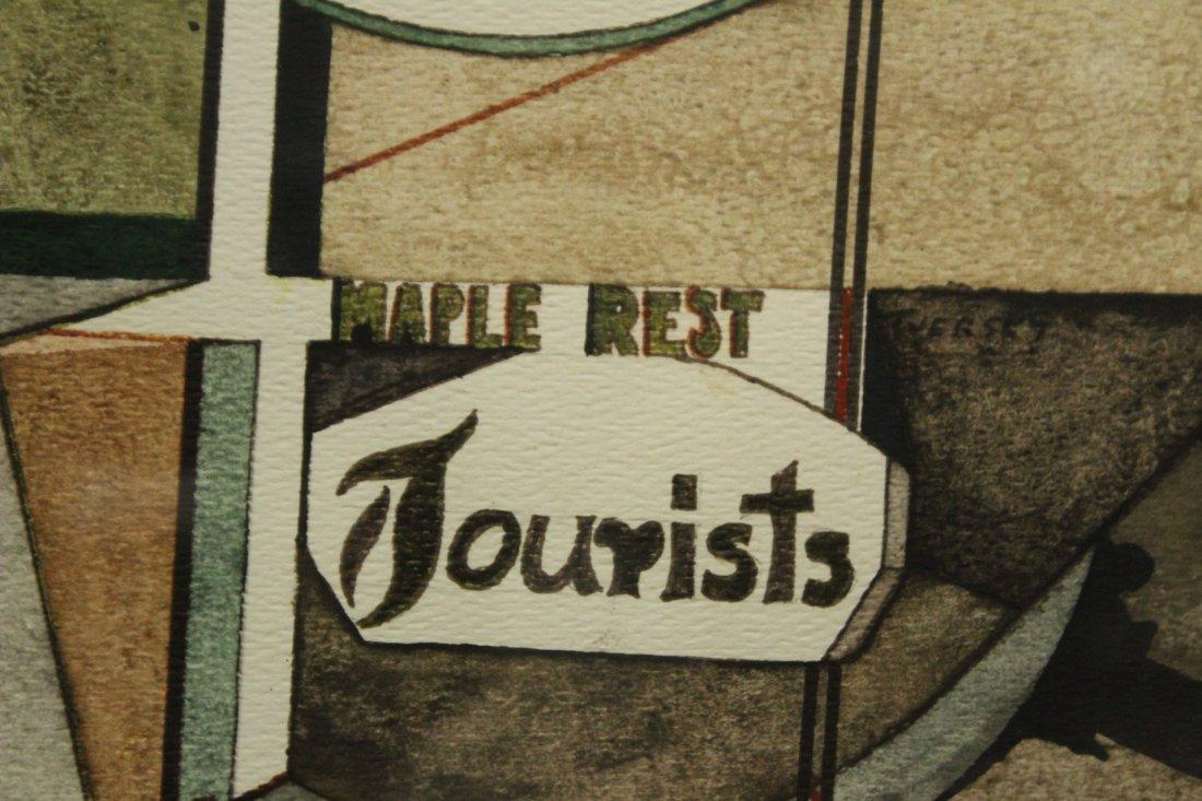 Len Tversky Woodstock Artist watercolor abstract - 2