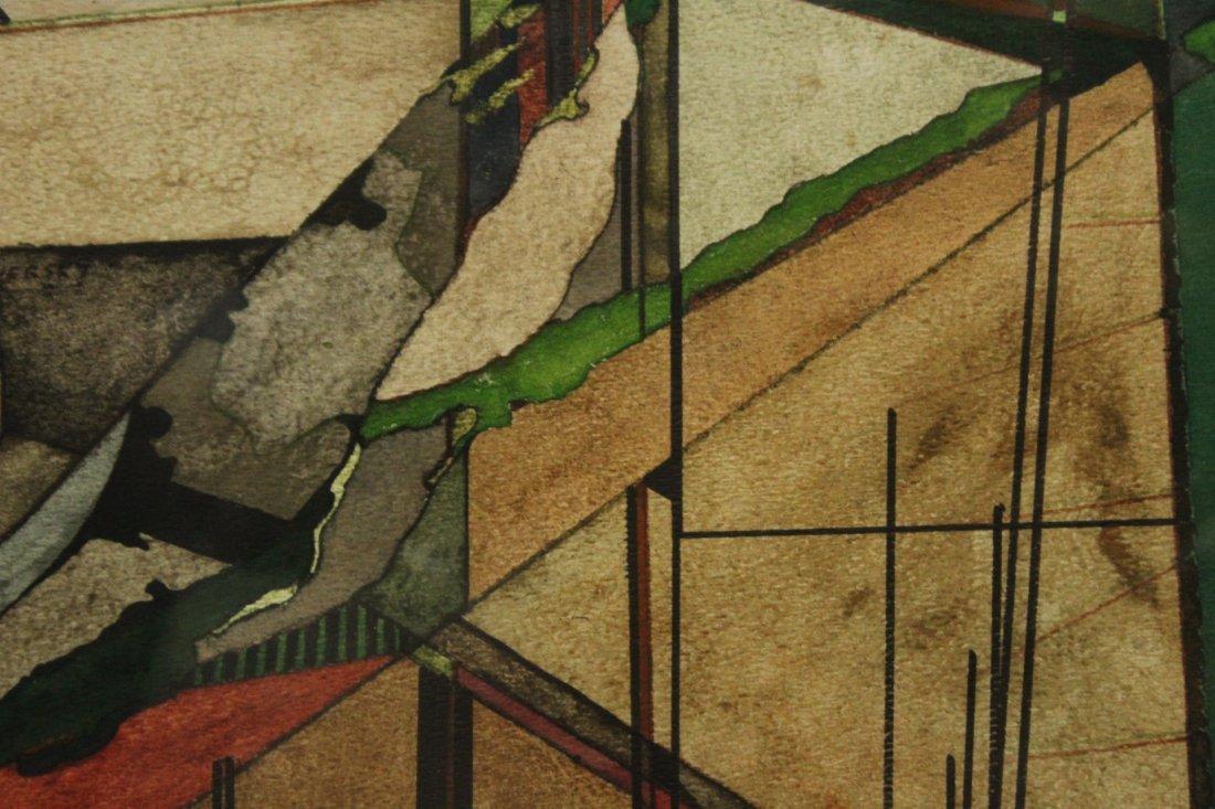 Len Tversky Woodstock Artist watercolor abstract - 4