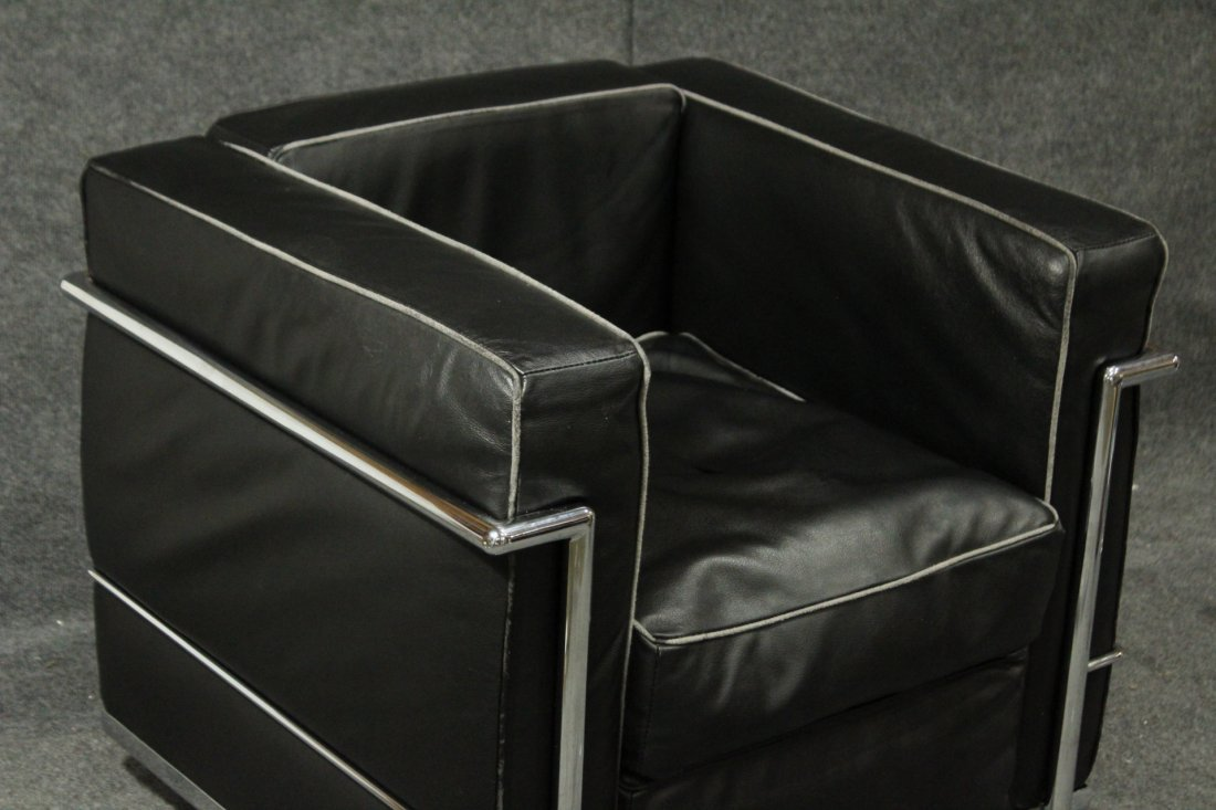 LE CORBUSIER [after] CHROME & BLACK LEATHER CUBE CHAIR - 2