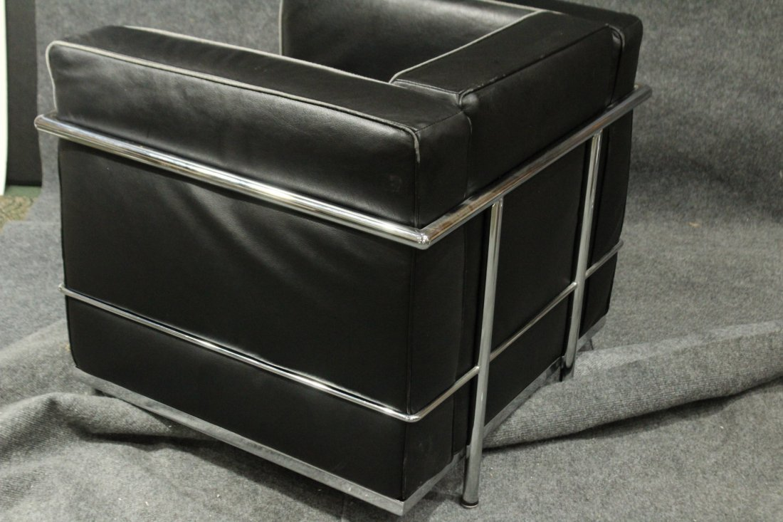 LE CORBUSIER [after] CHROME & BLACK LEATHER CUBE CHAIR - 5