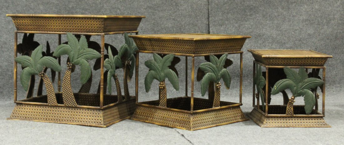 Set of 3 nesting palm tree metal tables, stands - 2