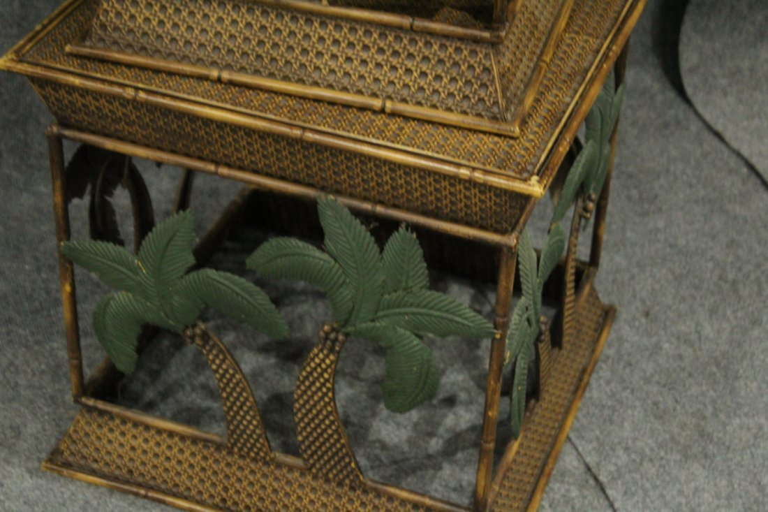 Set of 3 nesting palm tree metal tables, stands - 5