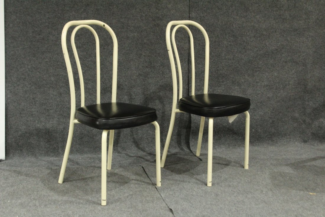 Set of 4 daystrom tubular metal dining chairs - 2
