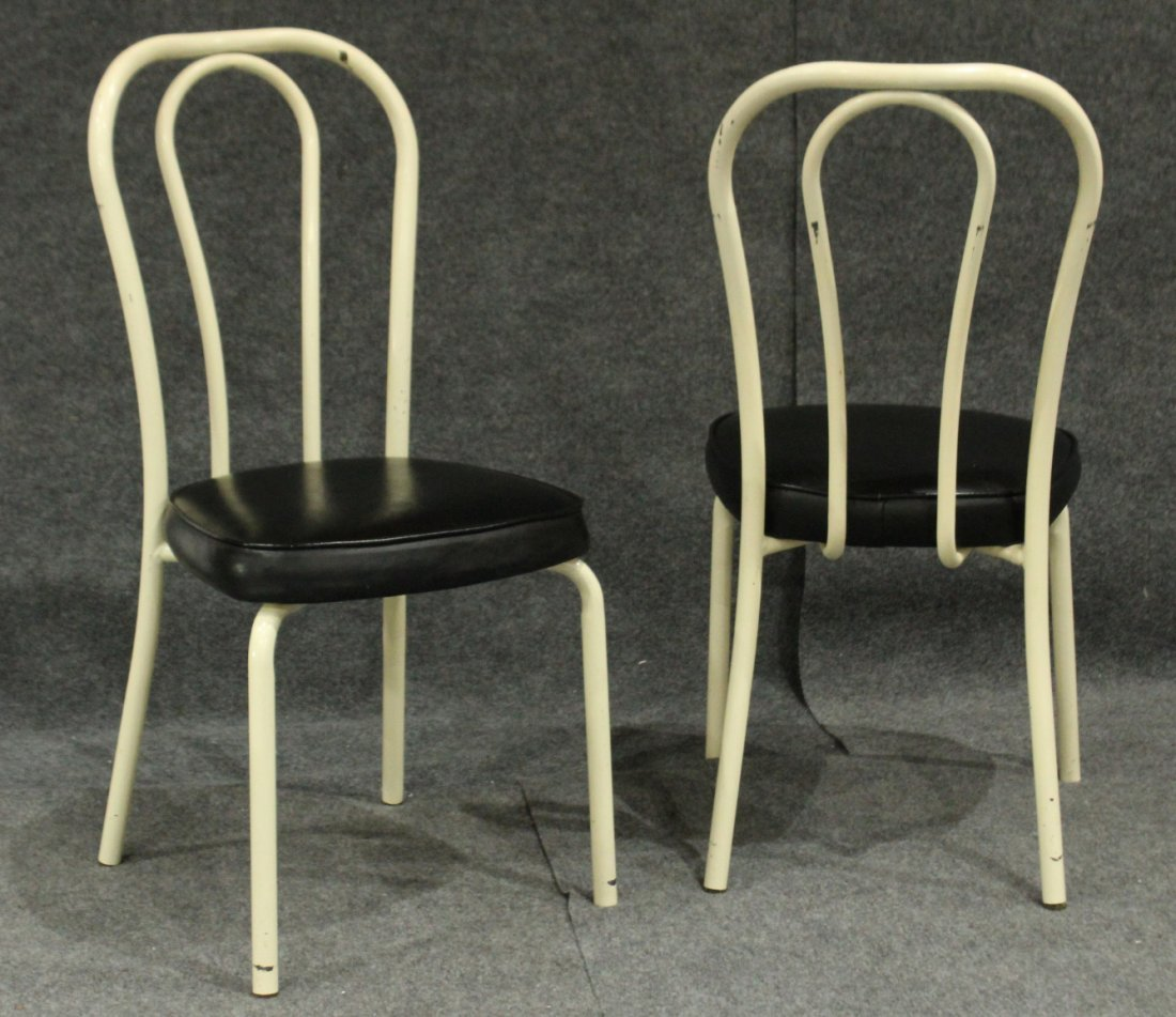 Set of 4 daystrom tubular metal dining chairs - 5