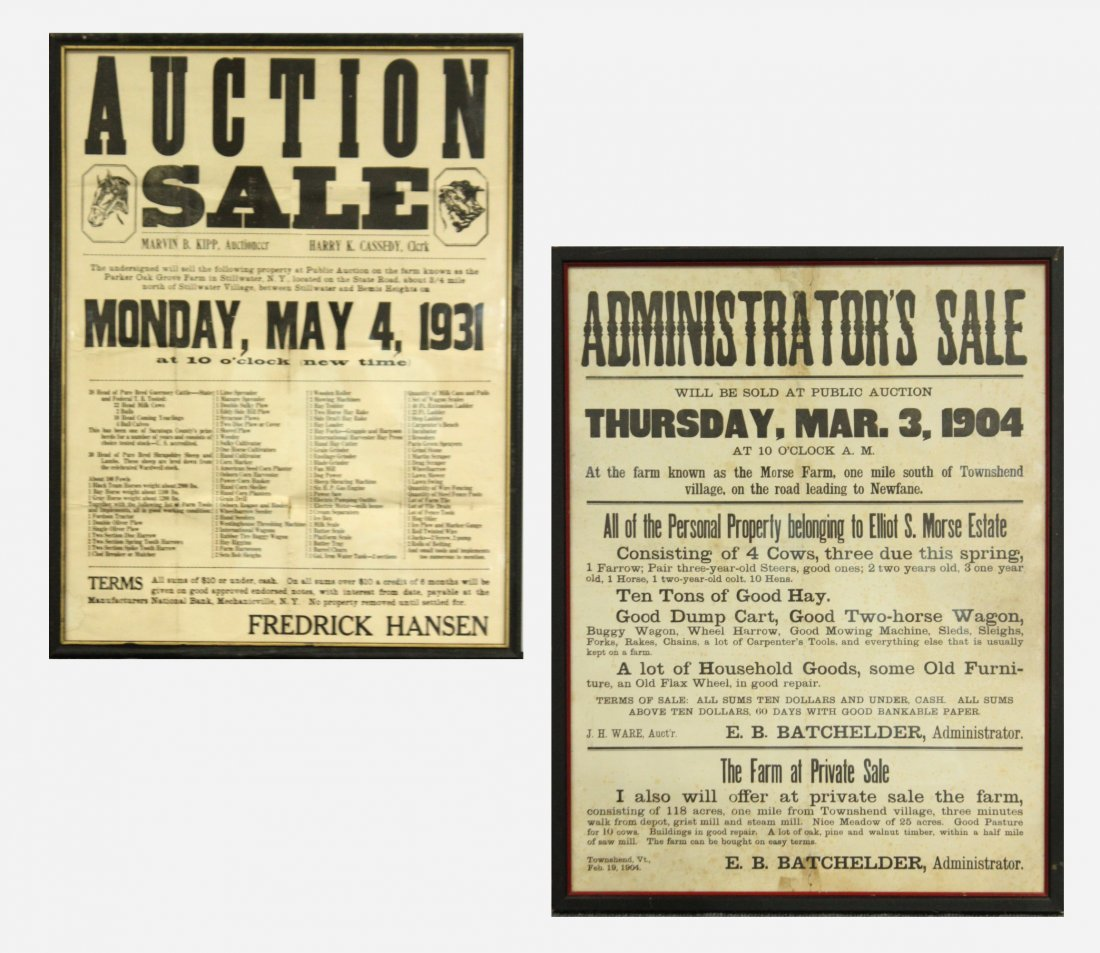 Two (2) Antique Auction advertisement posters