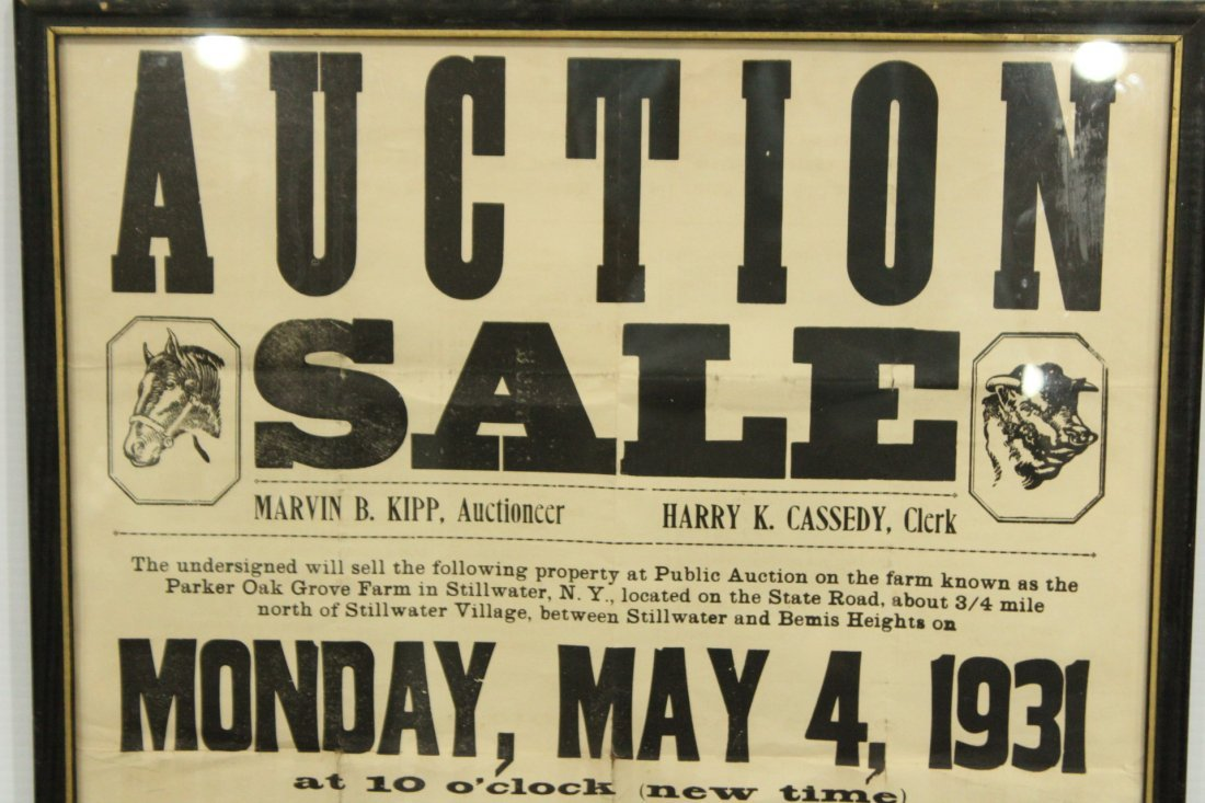 Two (2) Antique Auction advertisement posters - 2