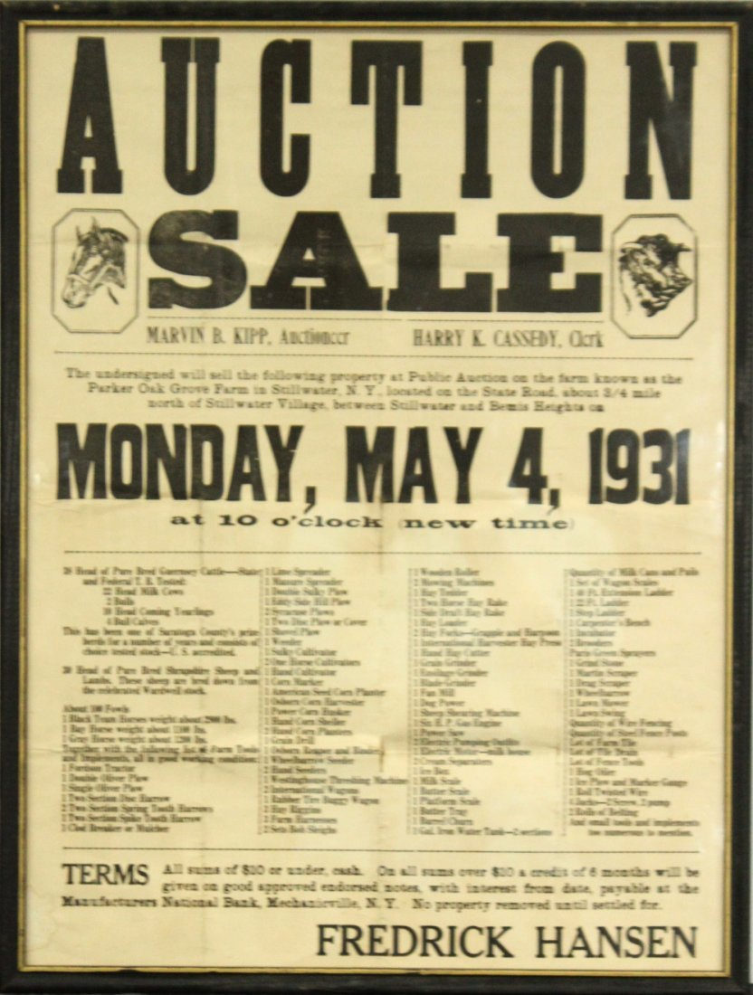 Two (2) Antique Auction advertisement posters - 3