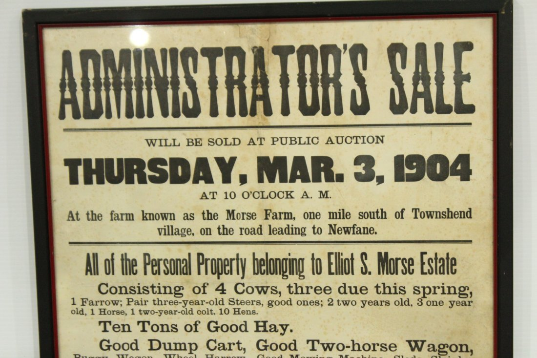 Two (2) Antique Auction advertisement posters - 6