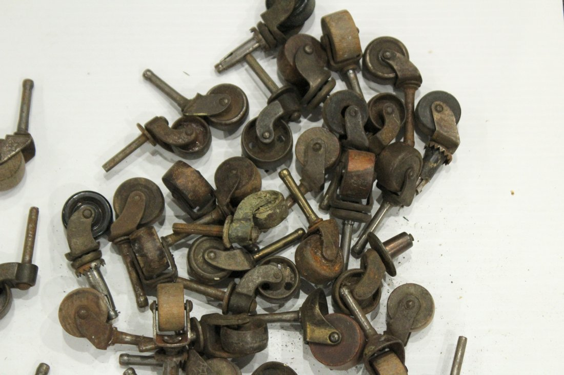 Lot of assorted antique caster wheels - 5