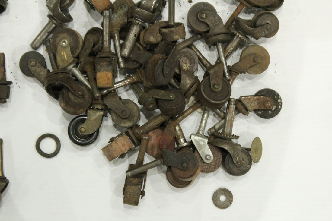 Lot of assorted antique caster wheels - 6