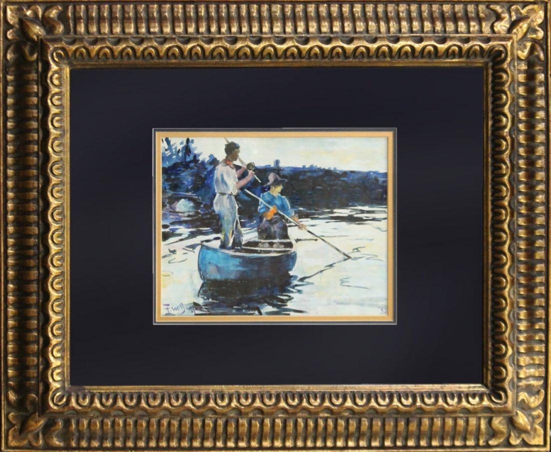 F W BENSON '32 Watercolor FLY FISHING IN CANOE