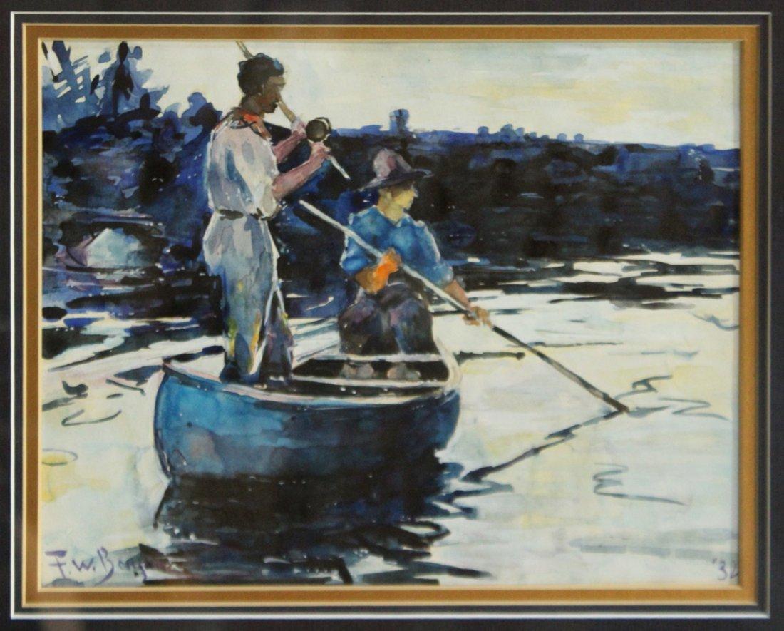 F W BENSON '32 Watercolor FLY FISHING IN CANOE - 2