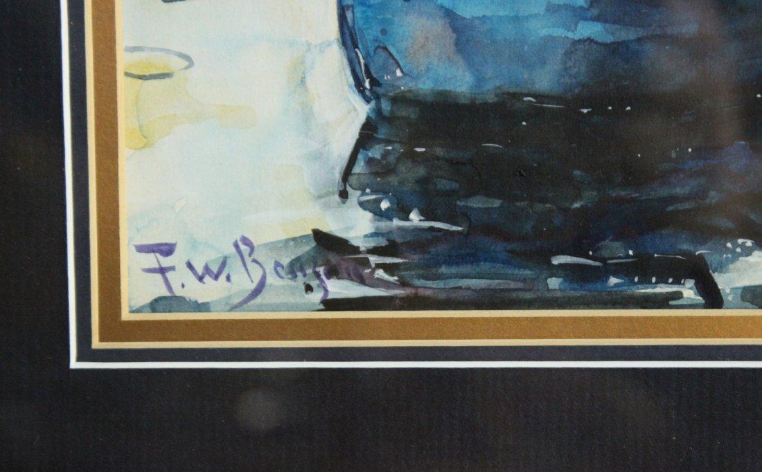 F W BENSON '32 Watercolor FLY FISHING IN CANOE - 4