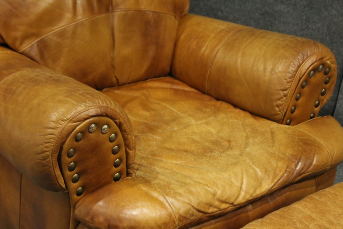Brown leather lounge chair - 2