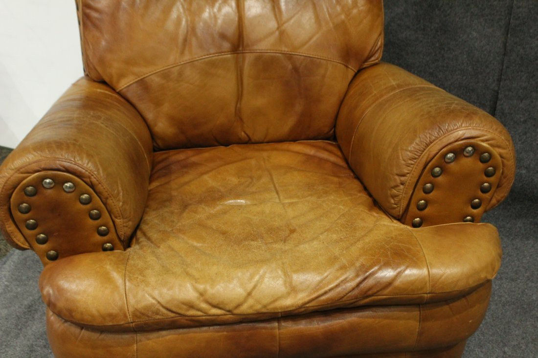 Brown leather lounge chair - 3