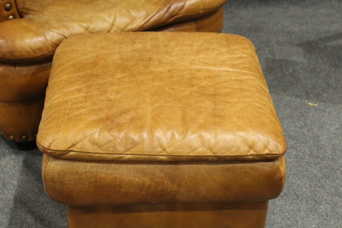 Brown leather lounge chair - 4
