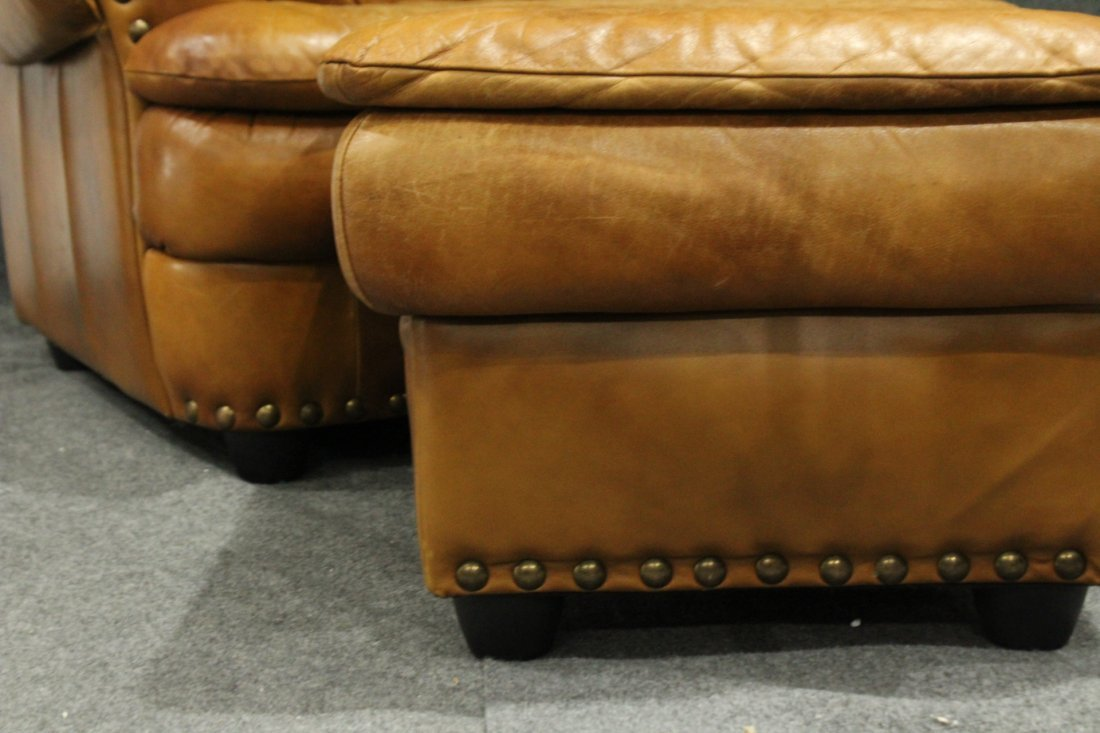 Brown leather lounge chair - 5
