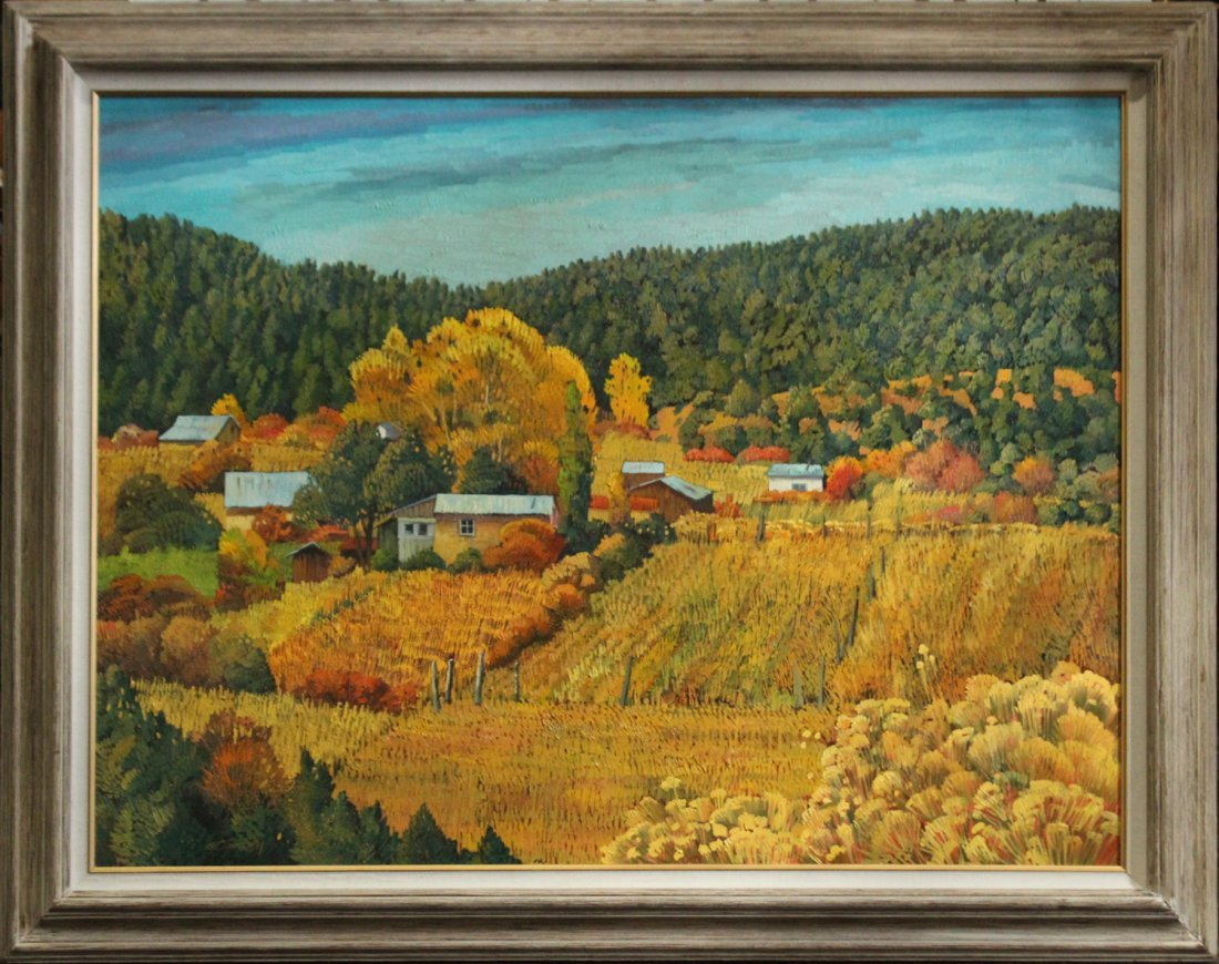 DONNA CLAIR, Listed NEW MEXICO Large FARM LANDSCAPE OIL