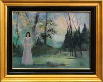 RUTH MCKEE 1929-2012, Pa Artist OIL FIGURE EVENING LAND