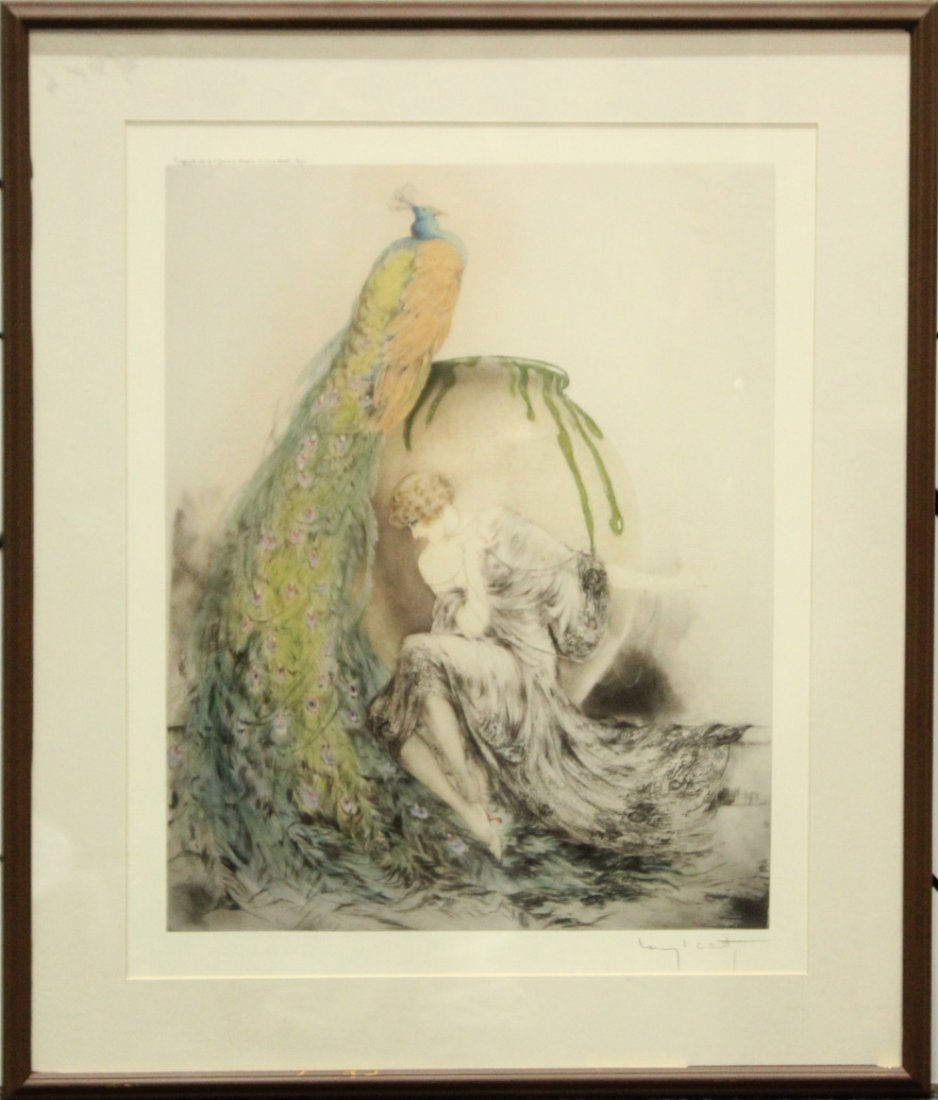 LOUIS ICART Print, Art Deco Girl With Peacock