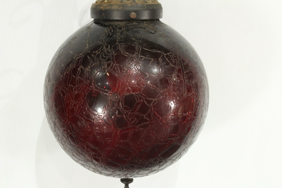 Hanging Victorian Fixture with Red Crackled Glass Globe - 3