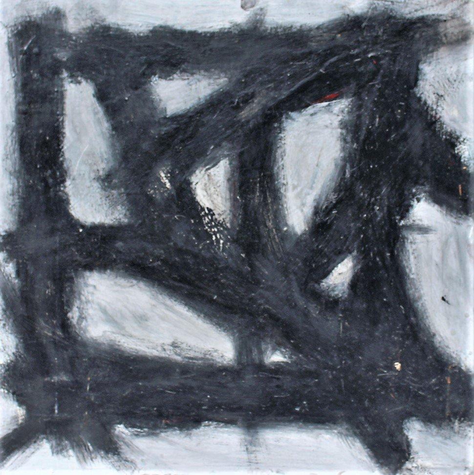 FRANZ KLINE attributed Mid Century Modern Abstract Oil.