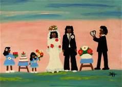CLEMENTINE HUNTER Oil Southern Plantation Folk Wedding