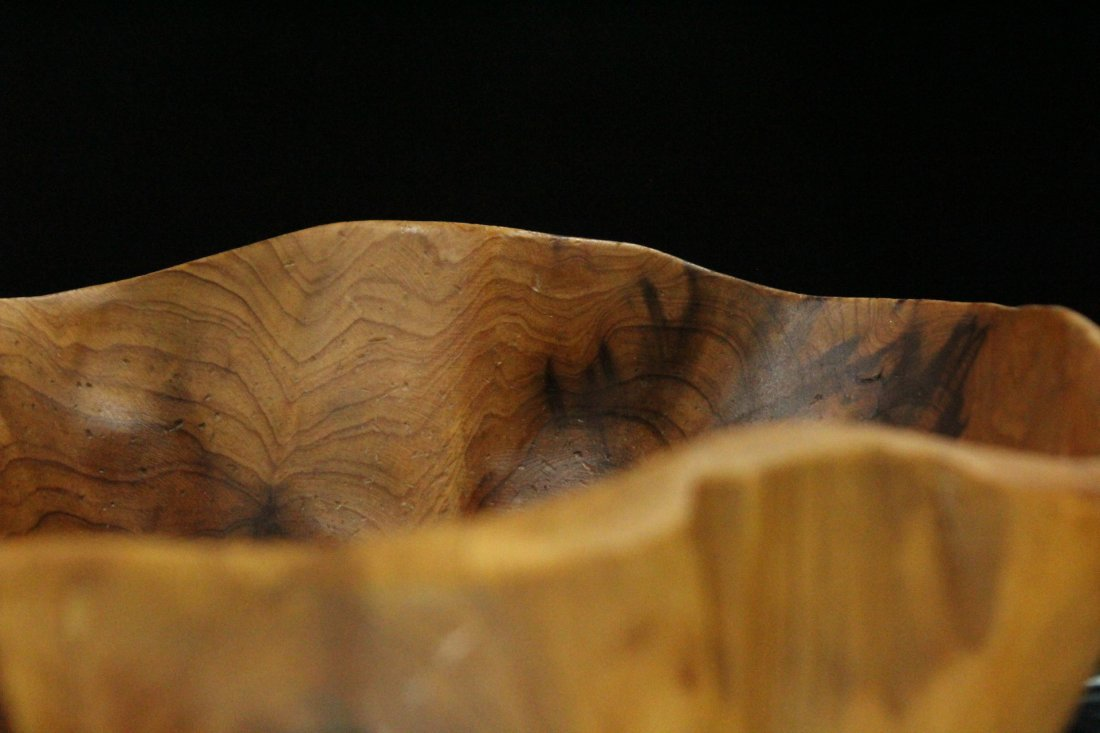 Mid-Century BURL WOOD CARVED STUDIO BOWL - 3
