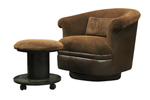 Excellent Milo Baughman Swivel Tub Chair Ottoman Brown Leather Creativecarmelina Interior Chair Design Creativecarmelinacom