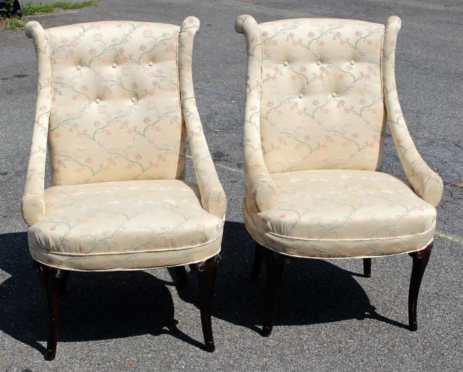 Pair HOLLYWOOD REGENCY TALL BACK DESIGNER CHAIRS