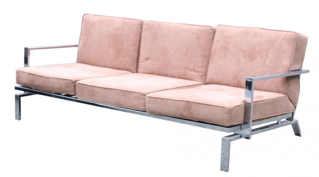 MILO BAUGHMAN Chrome Flat Bar Sofa - Clean Upholstery