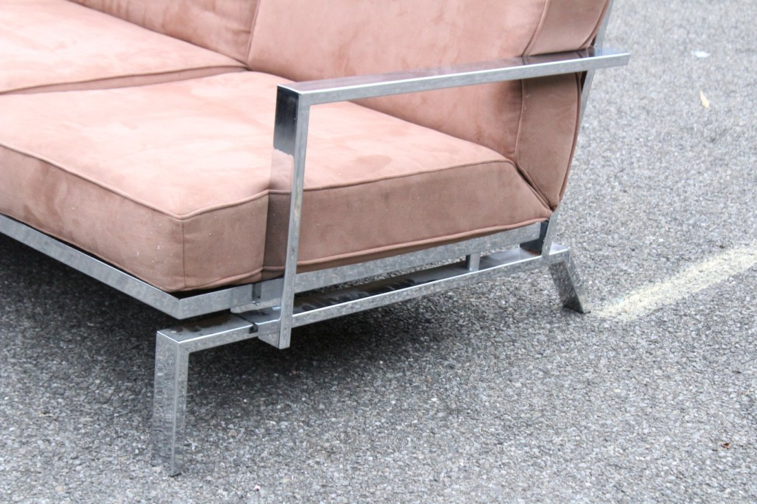 MILO BAUGHMAN Chrome Flat Bar Sofa - Clean Upholstery - 2