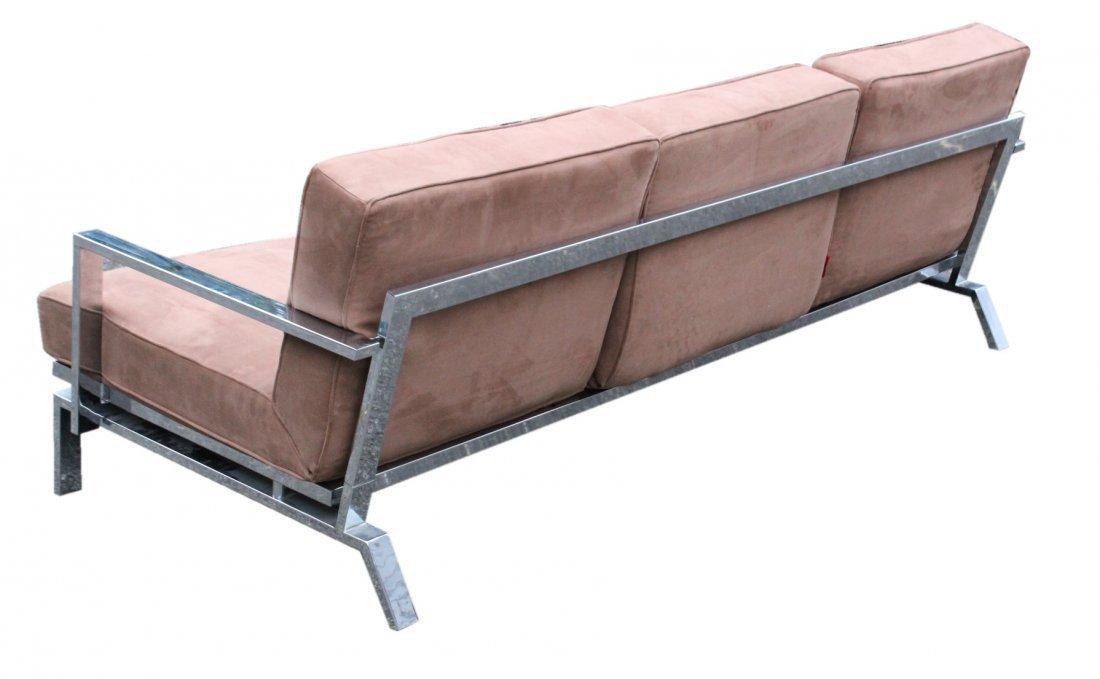 MILO BAUGHMAN Chrome Flat Bar Sofa - Clean Upholstery - 4