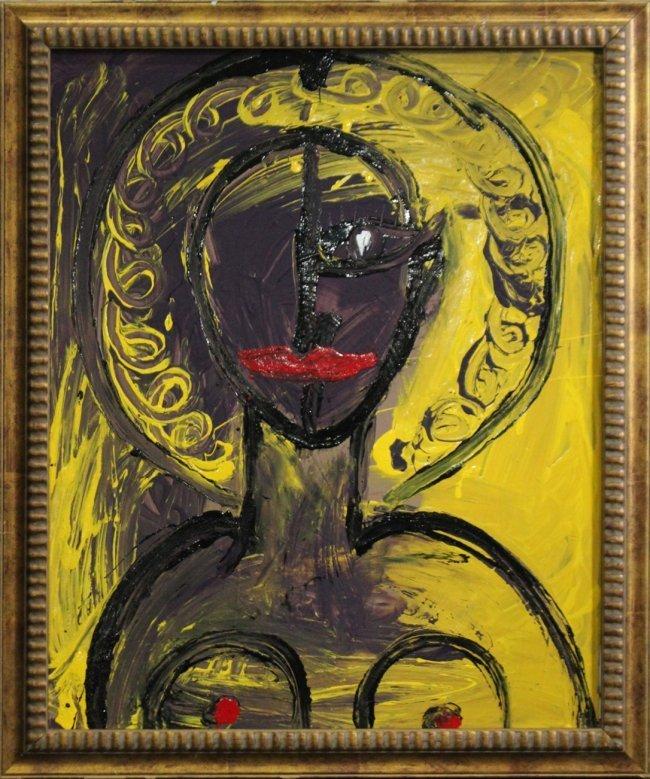 Mid-Century Modern PORTRAIT OF NUDE WOMAN Oil/B
