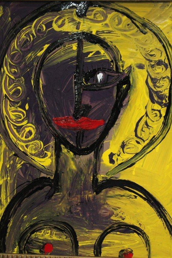 Mid-Century Modern PORTRAIT OF NUDE WOMAN Oil/B - 2